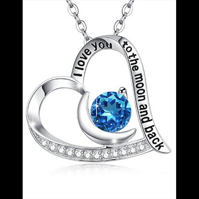 """I Love You To The Moon And Back"" Sapphire Heart Necklace"
