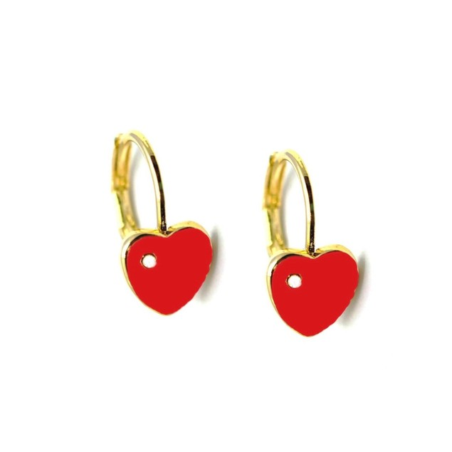 18KGP Heart Shape Red Enameled & Cubic Zirconia Children's Leverback Post Earrings