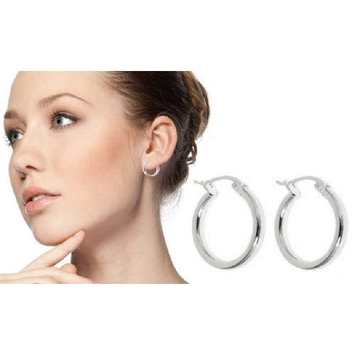 .925 Sterling Silver French Lock Hoops 15mm