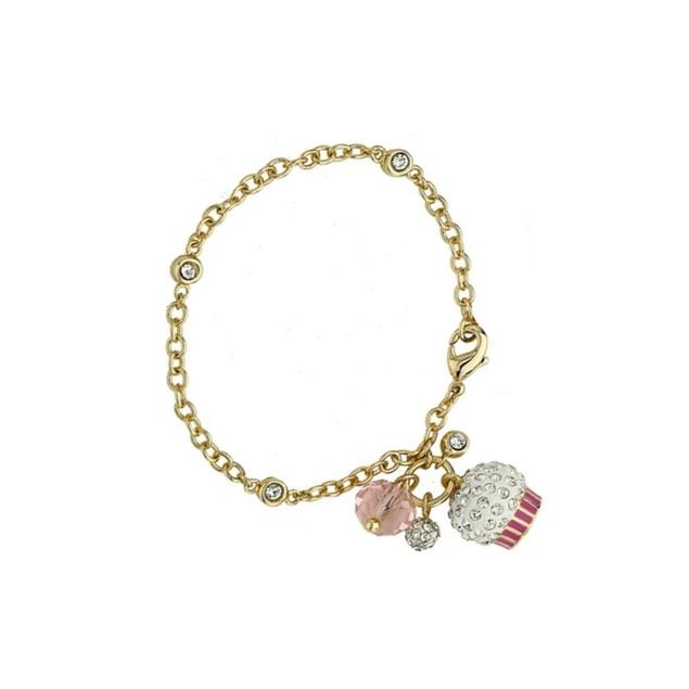 "18KGP C.Z Bracelet W/ Enameled Cupcake & Bead Children's Charm Bracelet (5""+ 2""Extention)"
