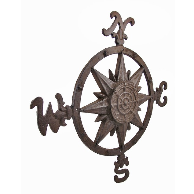 Cast Iron Compass Rose Wall Accent Indoor/Outdoor Outdoor Plaques