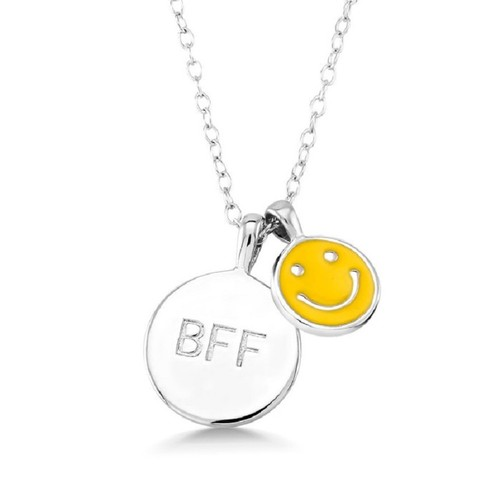 """0.925 Sterling Silver Yellow Enameled Smiley Face & BFF 13"""" Children's Necklace.(2"""" Extention)"""
