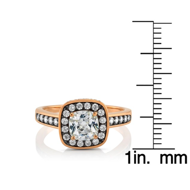 Gold Plated Cubic Zirconia Ring-Halo Style