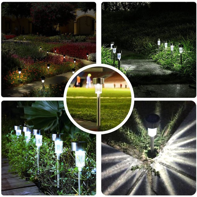 12-Pack Stainless Steel Solar Powered Pathway Garden Light