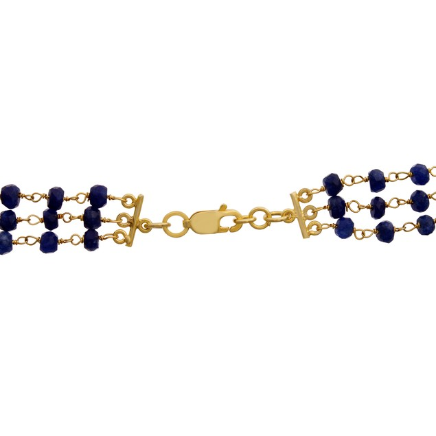 14k Gold 41ct Blue Sapphire and Pearl Triple Strand Necklace, 20""