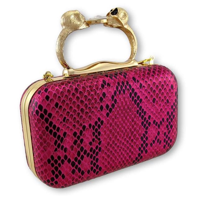 Metallic Hot Pink Snakeskin Textured Clutch With Womens Clutch Handbags