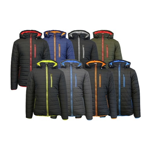 Spire by Galaxy Men's Heavyweight Puffer Jacket with Detachable Hood