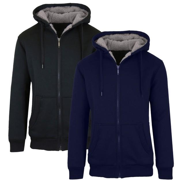 2-Pack Men's Sherpa Lined Fleece Zip-Up Hoodie