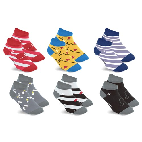 6-Pairs: Medical Prints Nurse Inspired Ankle-Length Compression Socks