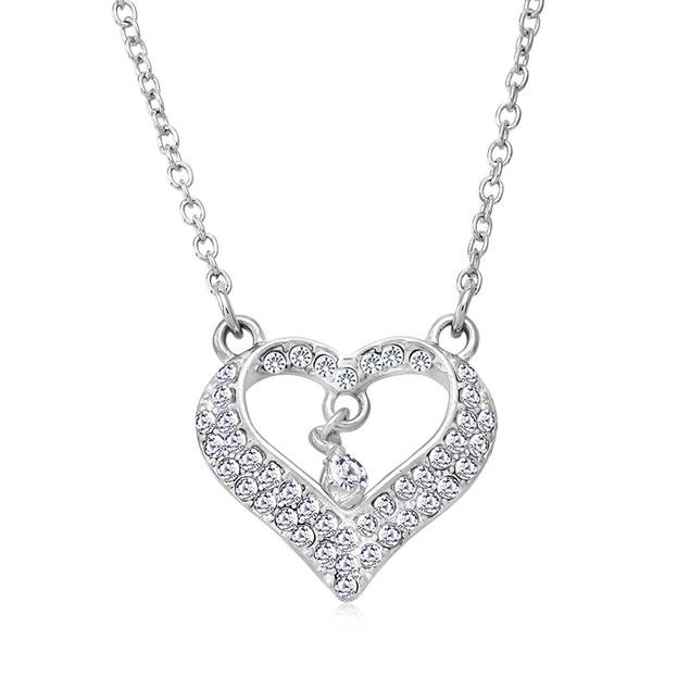 Cubic Zirocnia Heart Drop Necklace