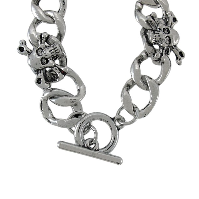 Curb Chain Link Bracelet With Skulls And Mens Chain Bracelets