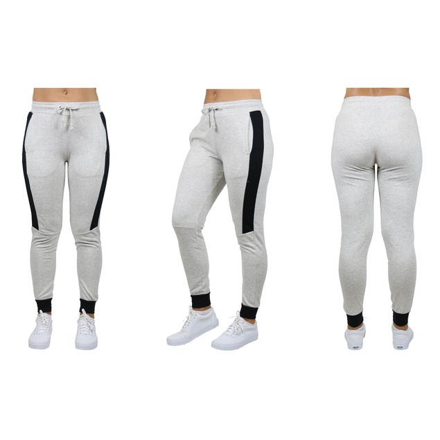 Womens Slim-Fit French Terry Jogger with Contrast Side Stripe (S-2XL)