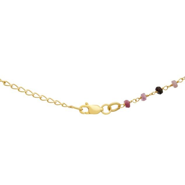 14k Yellow Gold 27ct Pink Tourmaline Bar Necklace