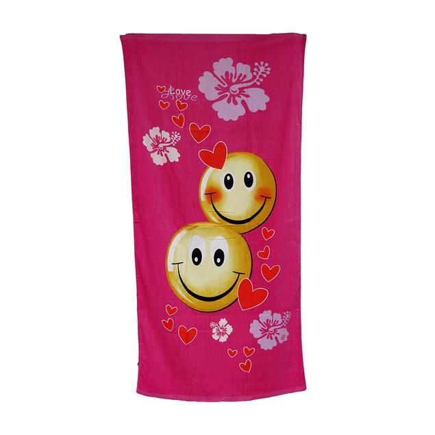 Bright Pink Smiley Love Hibiscus Flowers Beach Beach Towels