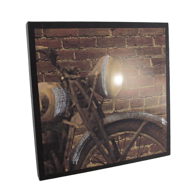 Vintage Motorcycle Against Brick Wall Lighted Led Prints