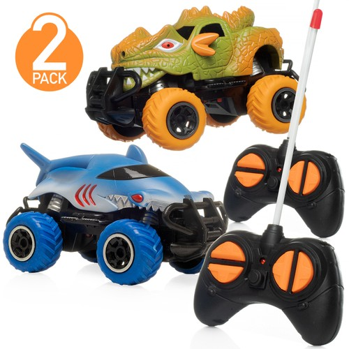 2-Pack Toy Dinosaur RC Cars w/ 2 Controllers W/ 2 Day Shipping
