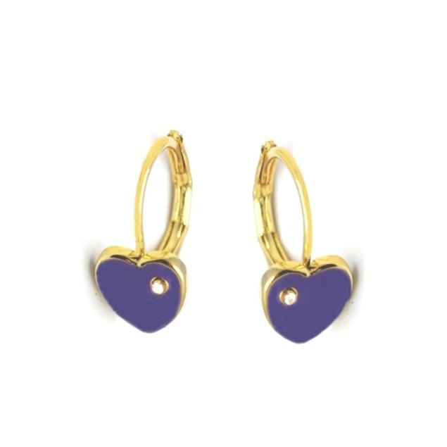 18KGP Heart Shape Purple Enameled & Cubic Zirconia Children's Leverback Post Earrings