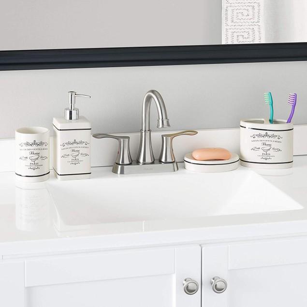 Home Basics Paris Collection 4-Piece Bathroom Accessory Set