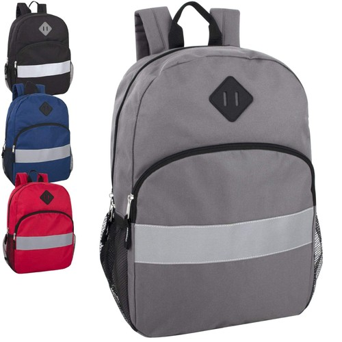 17-Inch Reflective Backpack w/ Side Pockets - 4 Color