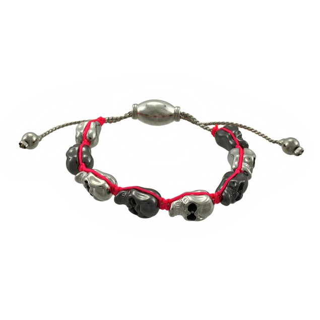 Two Tone Metal Skull Bead Adjustable Bracelet Pink Mens Cord Bracelets