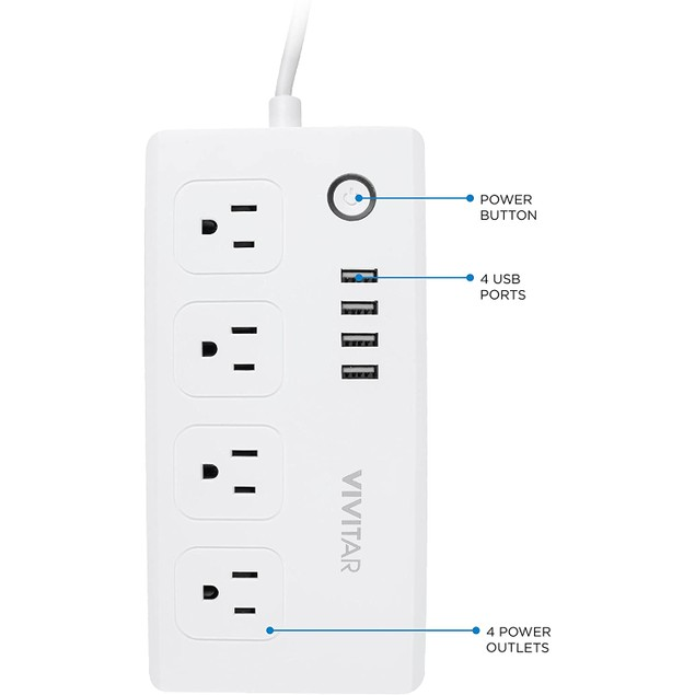 Vivitar Smart Home Wi-Fi  Power Strip, Multi Plug with 4 USB Ports