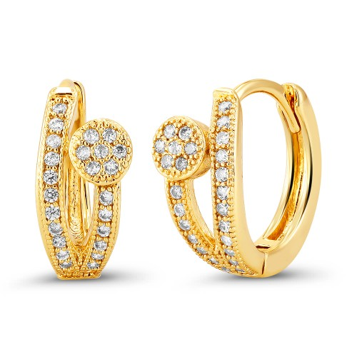 18kt Yellow Dot Goldtone Cubic zirconia  Huggie Earrings