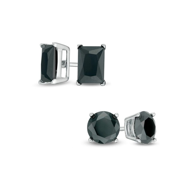 0.925 Sterling Silver 2-Pack Stud Set- 5MM Round & 8MM Black Rectangle Cubic Zirconia Earring Set