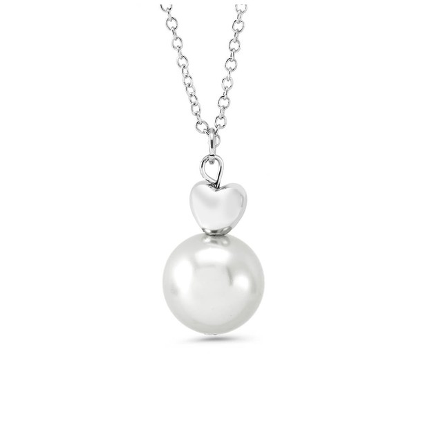 Drop Pearl Heart Necklace - 3 Colors