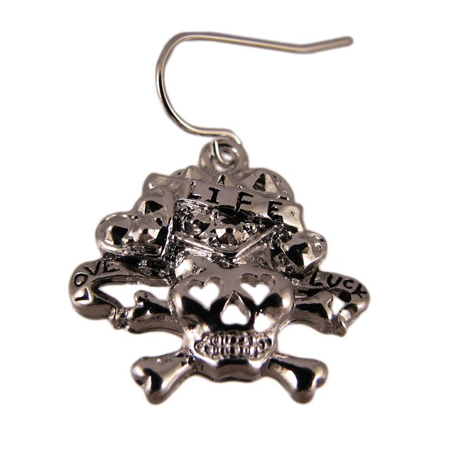Tattoo Style Skull & Crossbones Necklace & Earring Womens Earring And