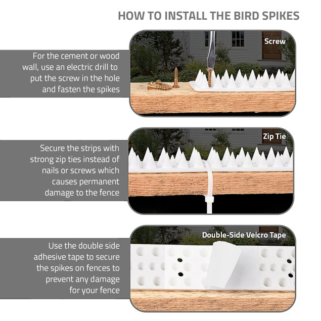 Bird Spikes  Set of 10 Spike Strips, Covers 16 feet