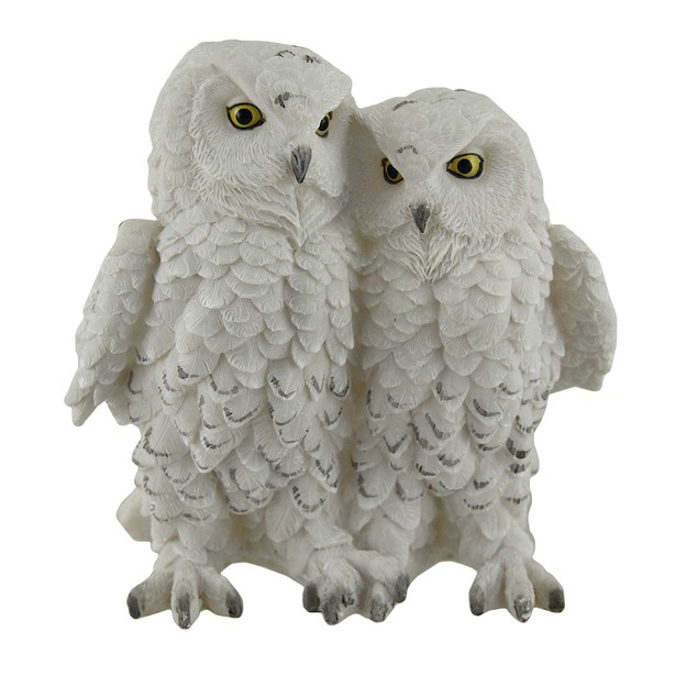 Birds Of A Feather Decorative Cozy White Snowy Owl Statues