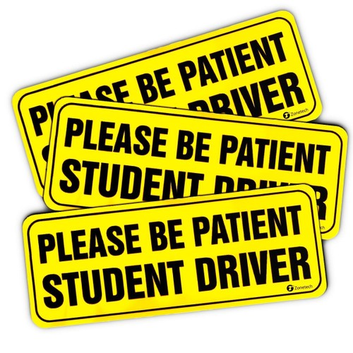 """Zone Tech Bumper Decal """"Please Be Patient Student Driver"""" Car Magnets"""