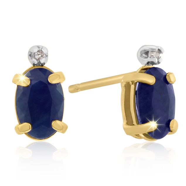 14k Yellow Gold 1.25cttw Oval Sapphire and Diamond Earrings