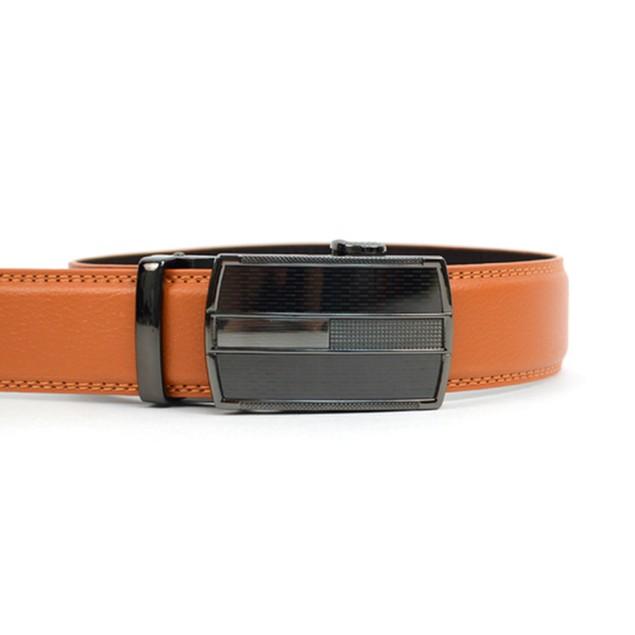 Men's Genuine Leather Automatic Sliding Buckle Ratchet Belt