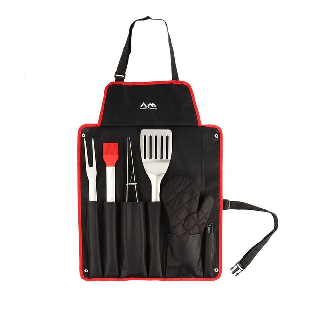 7 Piece BBQ Apron & Grill Tool Set Stainless Steel Grilling Utensils