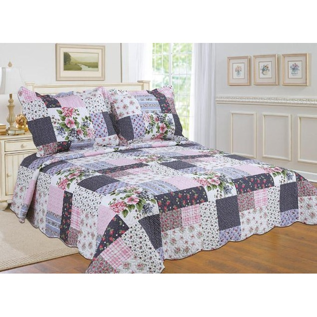 All For You Printed Quilt Set with Embroideries