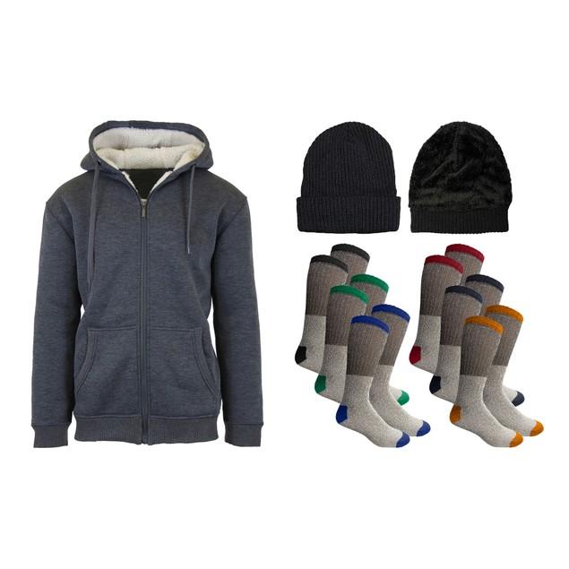 Men's Sherpa Hoodie, Sherpa Hat & Thermal Socks Gift Set (Sizes, S-2XL)