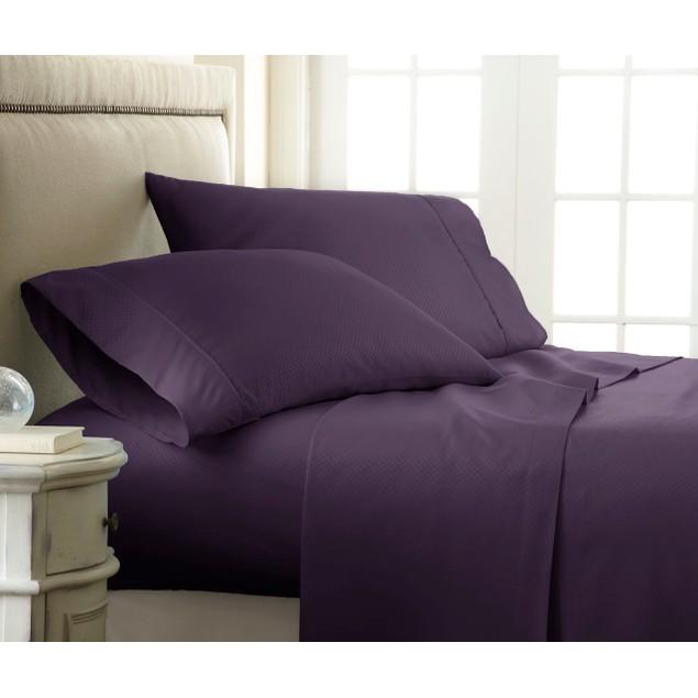 Merit Linens Ultra Soft 4 Piece Checkered Bed Sheet Set