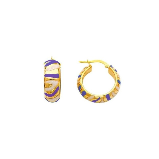 18K Gold Plated Bright Purple Enameled Aztec Swirl Children's Hoop Earrings