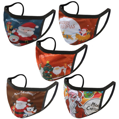 Reusable Cotton Christmas Holiday-Themed Face Masks (5-Pack)