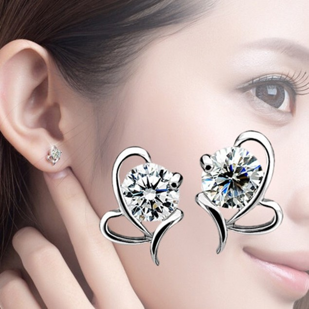 White Gold Plated Cubic Zirconia Heart Stud Earrings