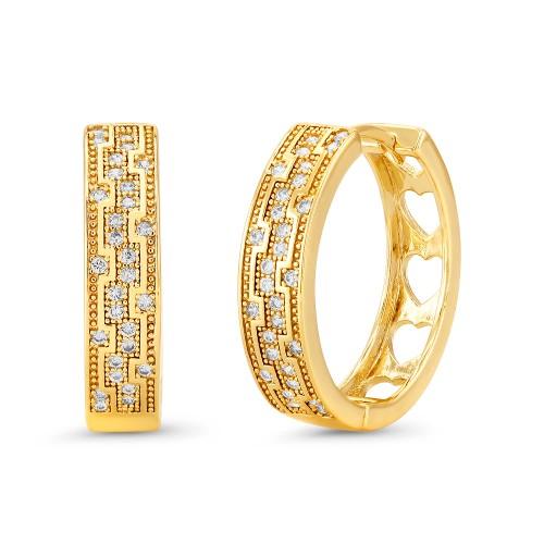 18kt Yellow Criss Cross Square Goldtone Cubic zirconia  Huggie Earrings