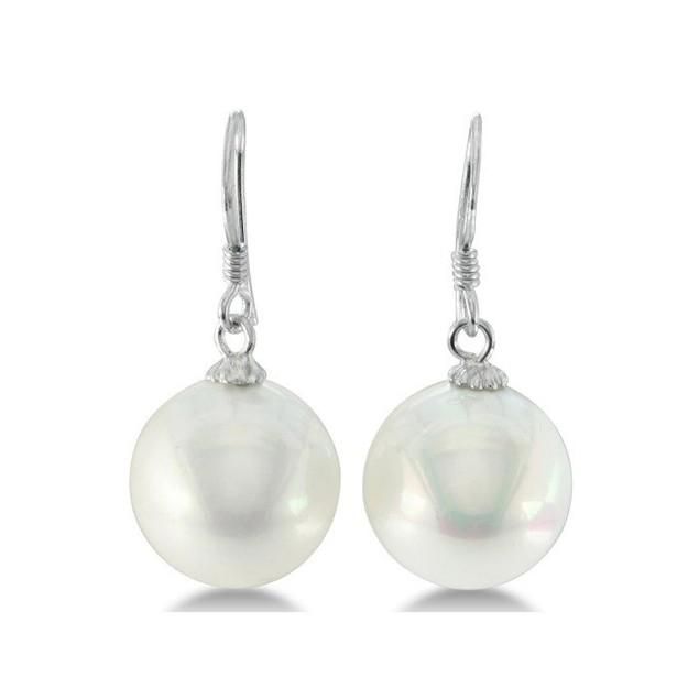 12mm Shell Pearl Fish Hook Earrings