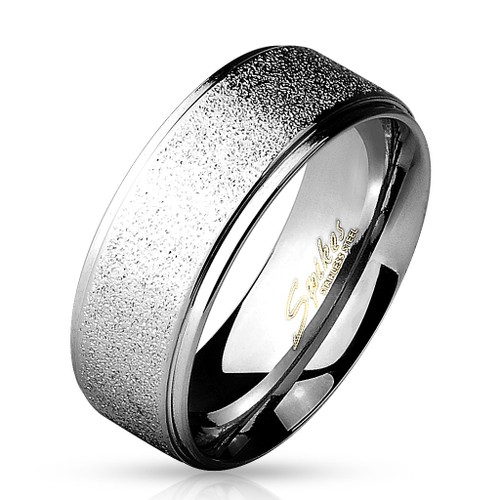 Men's 8mm Grooved Sand Blasted Stainless Steel Ring