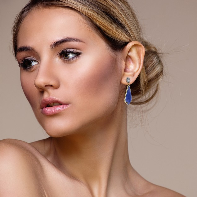 14k Gold 45ct Blue Sapphire and CZ Dangle Earrings