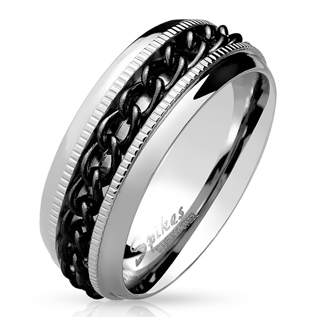 Chain Center Spinner and Diacut Lined Stainless Steel Ring - 2 Colors