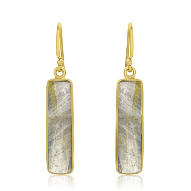 Gold Tone Sterling Silver 11 Carat Pyrite Bar Earrings