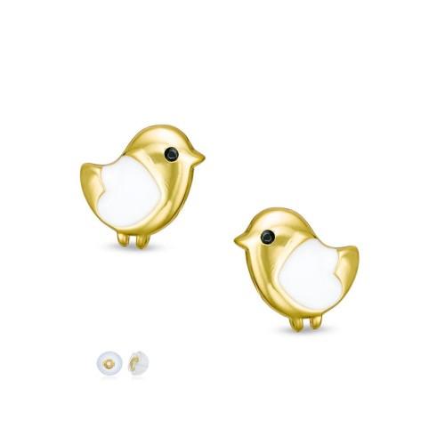 18K Yellow Gold Plated White & black Eyes Enameled Bird Children's Post Earrings