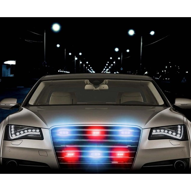 Zone Tech 54 LED Emergency Warning Strobe Light White/Red Windshield Grille