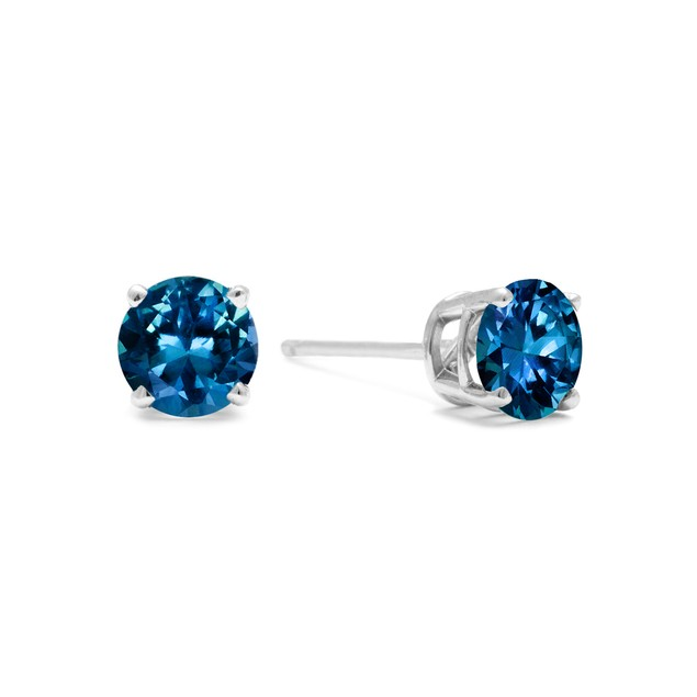 White Gold 1/2ct  Blue Diamond Stud Earrings